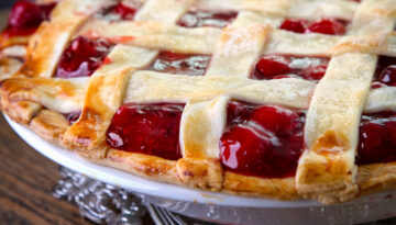 Fresh Baked Homemade Cherry Lattice Pie